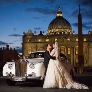 Catholic wedding in Vatican city and reception with view